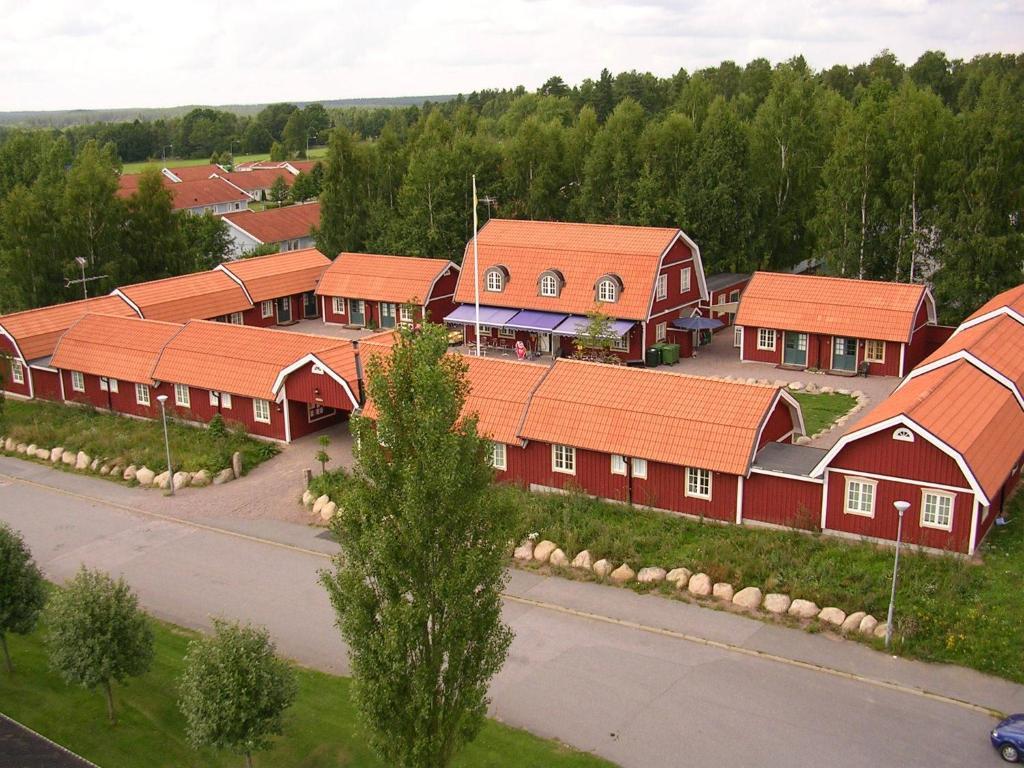Ett flygfoto av Oxgården