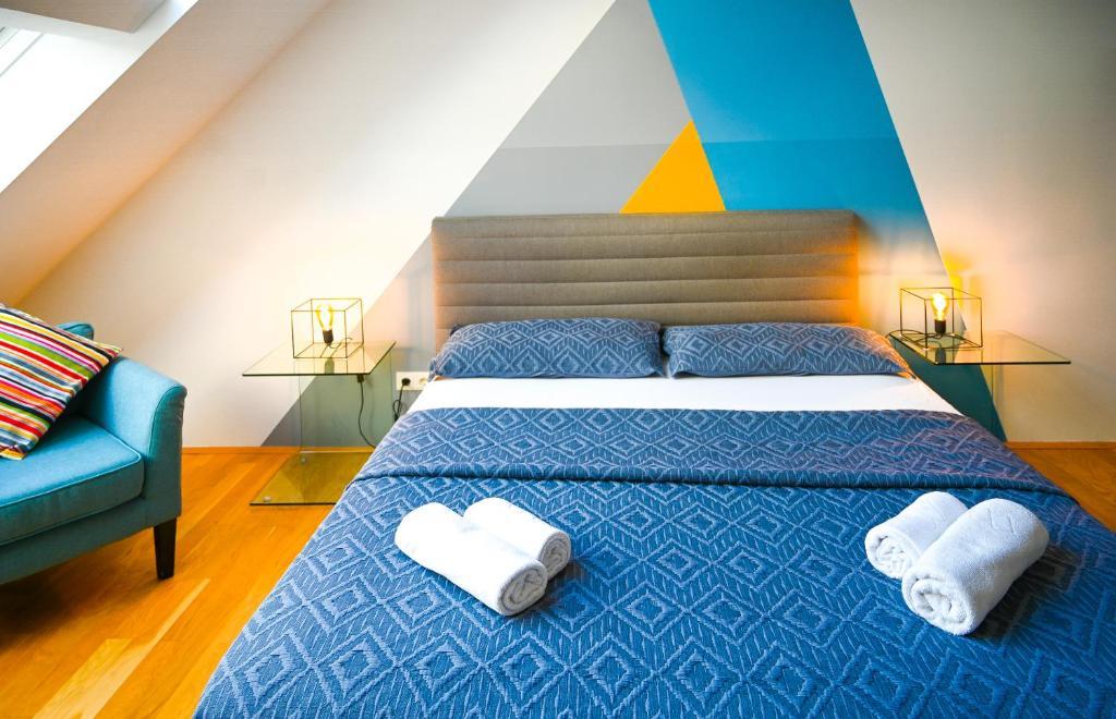 Postel nebo postele na pokoji v ubytování Backpacker Apartment Schönbrunn