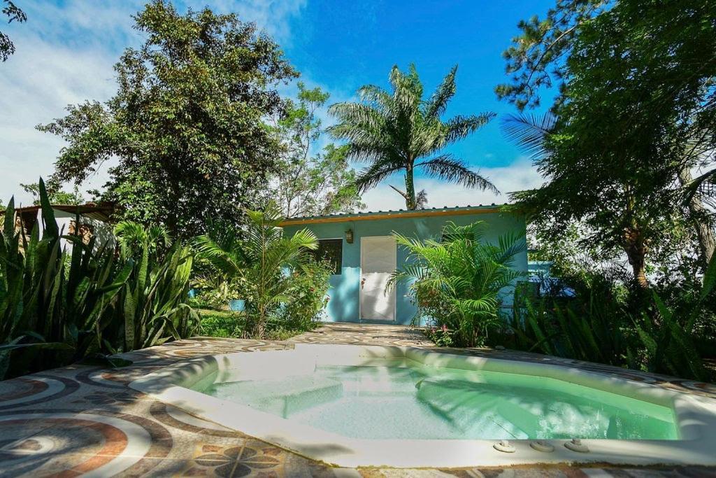 Der Swimmingpool an oder in der Nähe von Haus unter Palmen