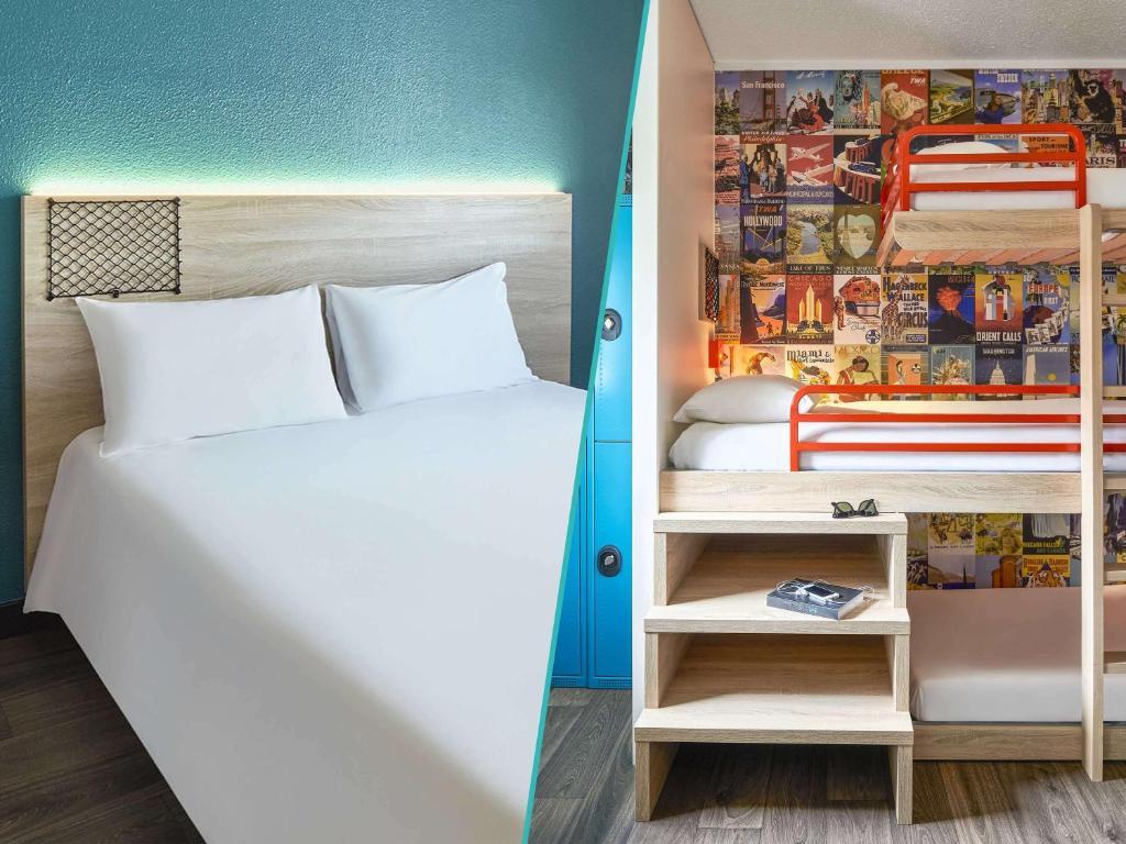 Un pat sau paturi într-o cameră la HotelF1 Paris Saint Ouen Marché Aux Puces Rénové