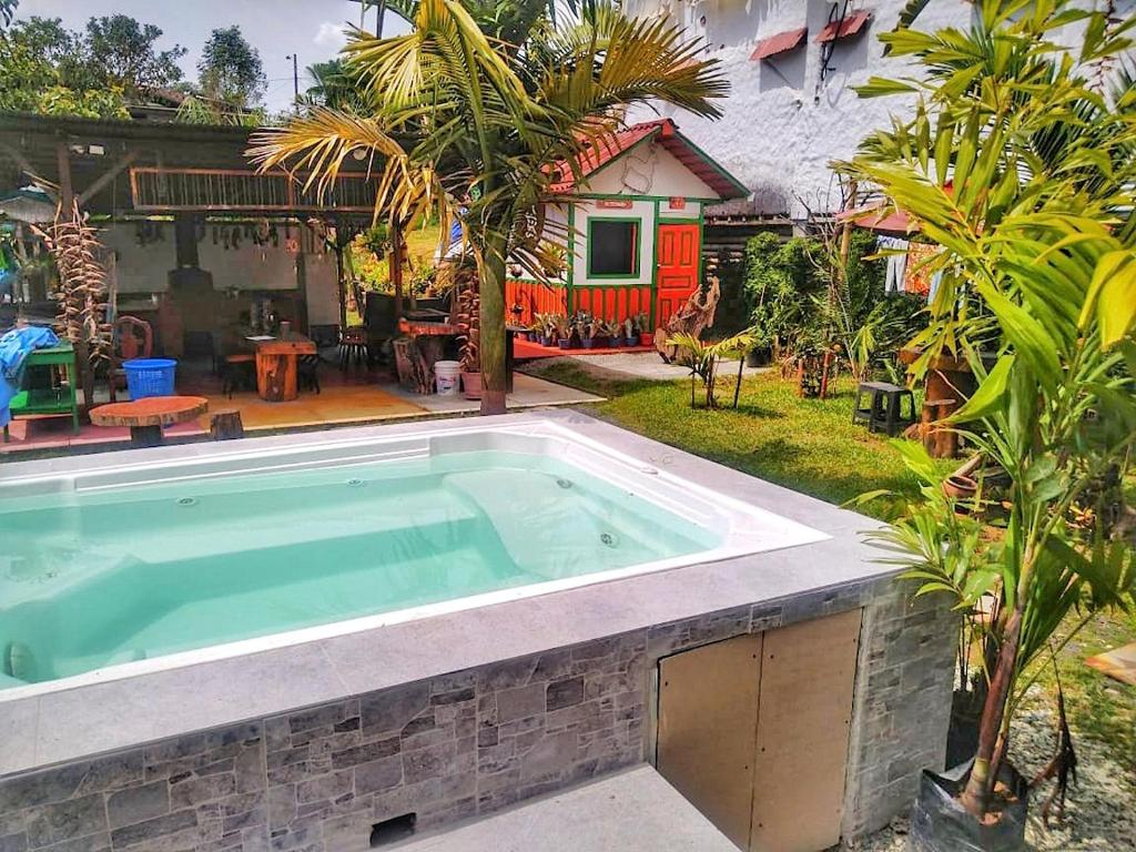 The swimming pool at or near Hostal Estrella de Agua