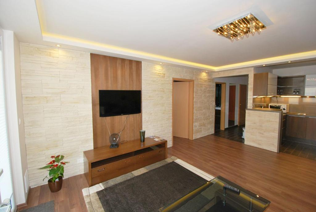 A television and/or entertainment center at Arpad Bridge Apartments
