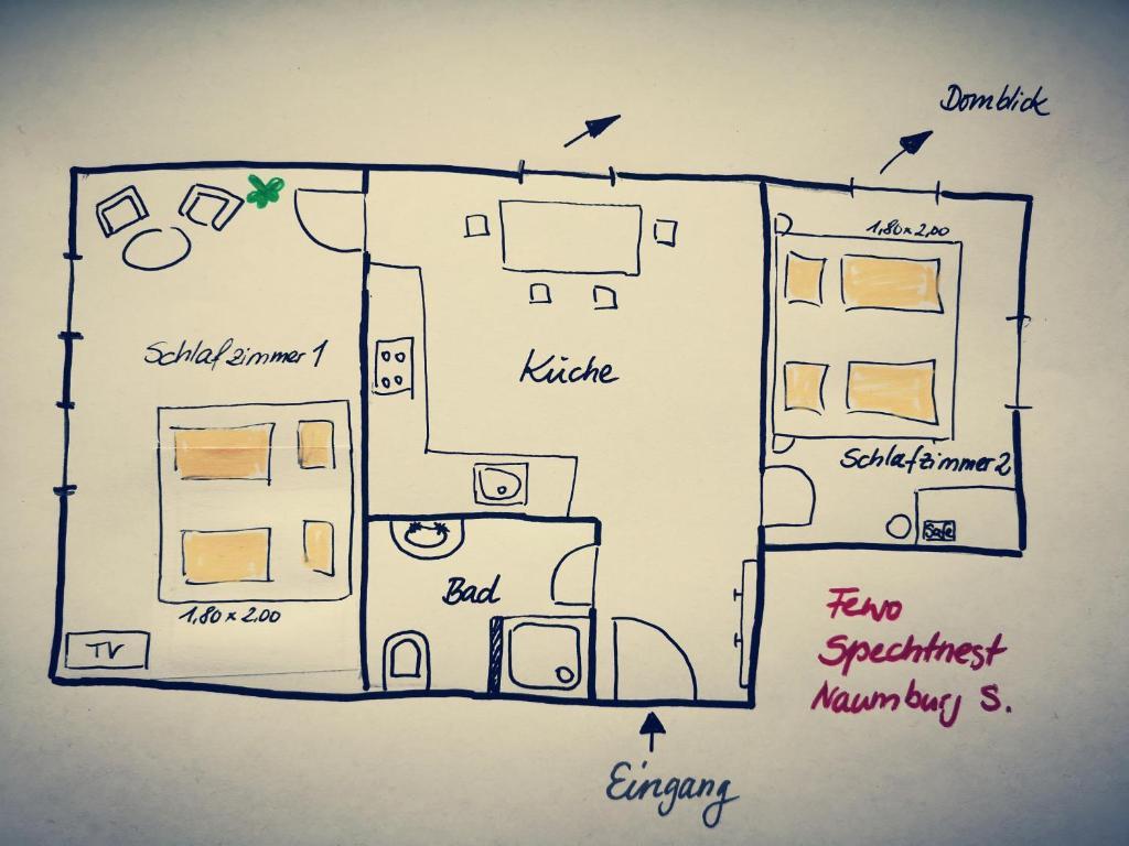Grundriss der Unterkunft Spechtnest