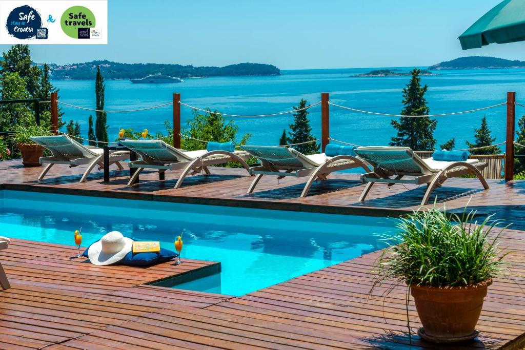 The swimming pool at or close to Villa Hortensia-Privacy and fascinating sea views