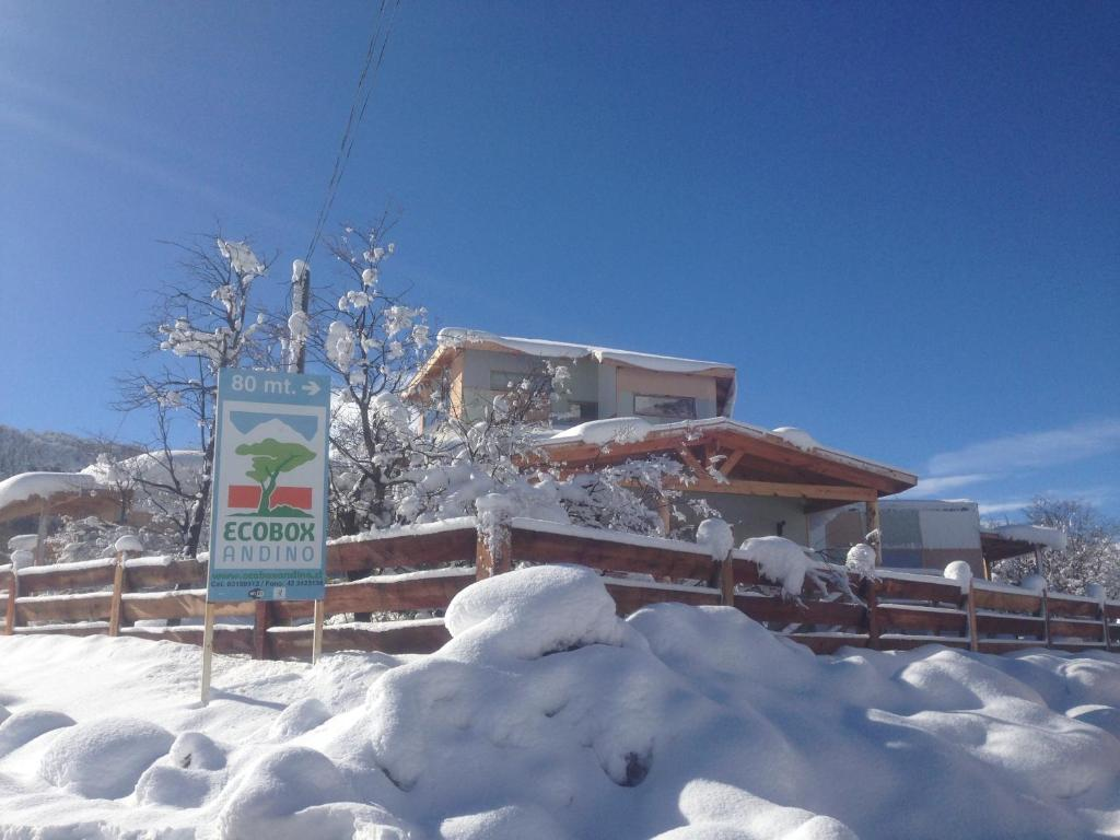 Refugio Ecobox Andino during the winter