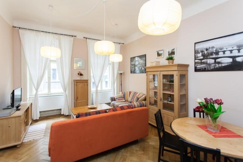 A seating area at Centre Apartment Řeznická