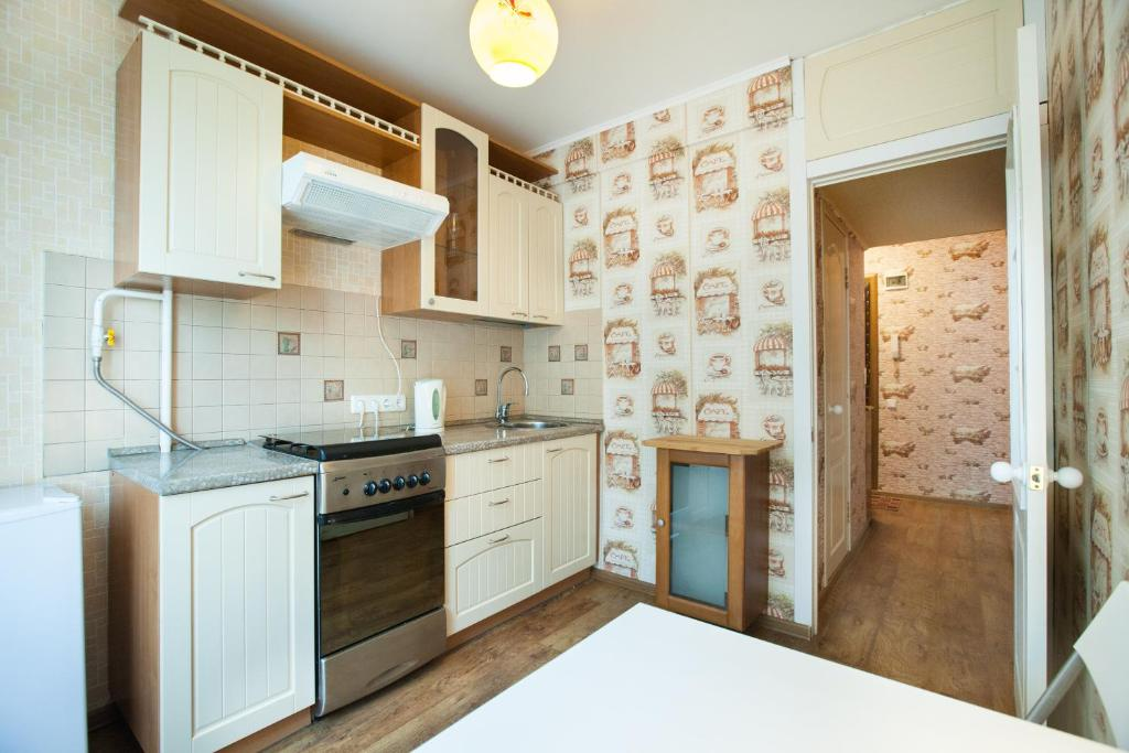 Кухня или мини-кухня в Economy Brusnika Apartment Vykhino
