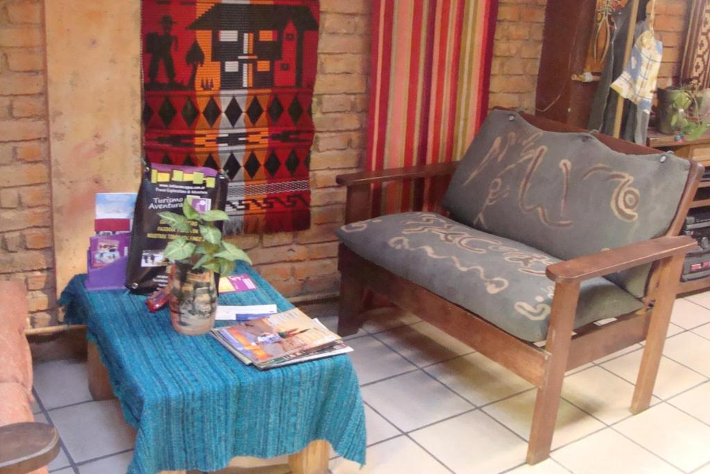 A seating area at Intiaconcagua Hostel