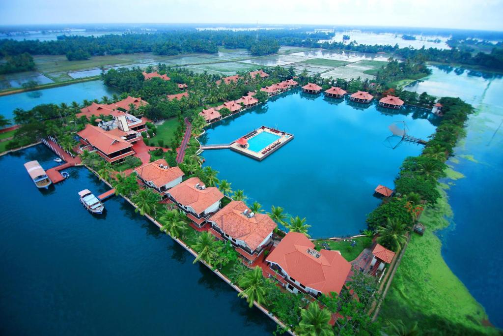 A bird's-eye view of Lake Palace Backwater Resort Alleppey