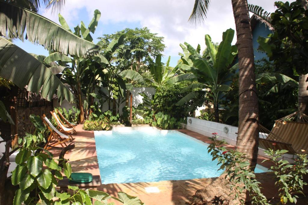 Het zwembad bij of vlak bij Les bungalows d'Ambonara