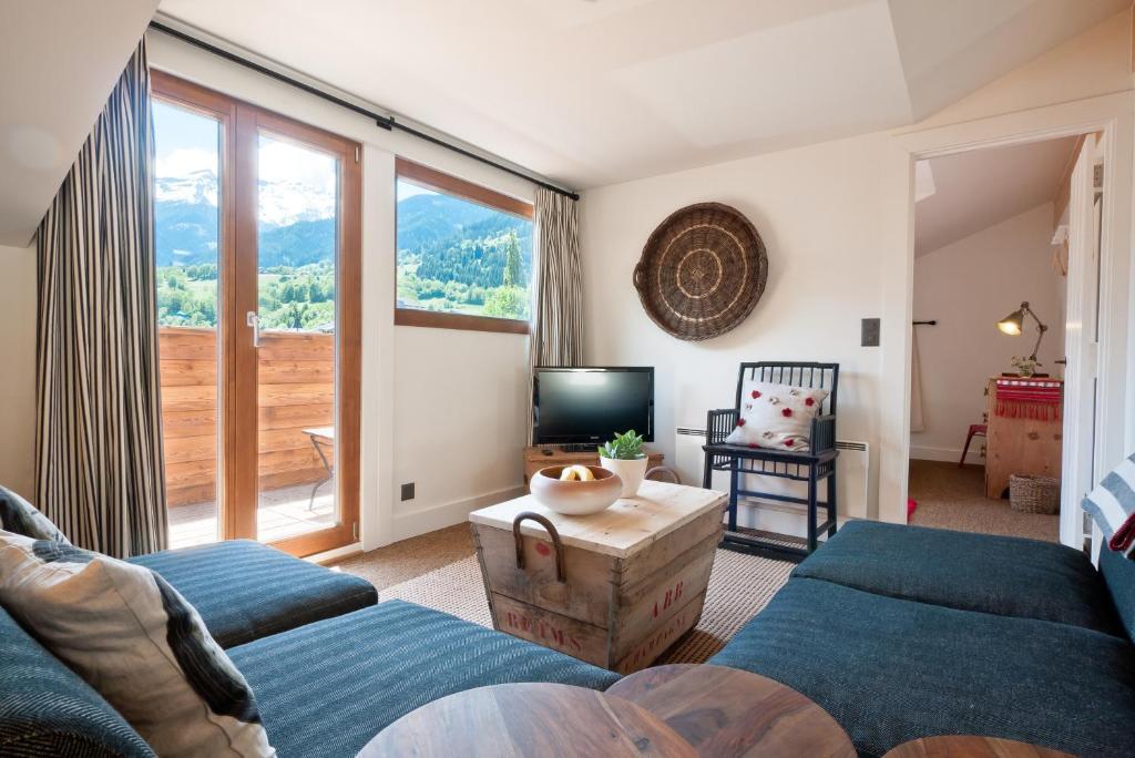 Ein Sitzbereich in der Unterkunft La Ruinette Apartments