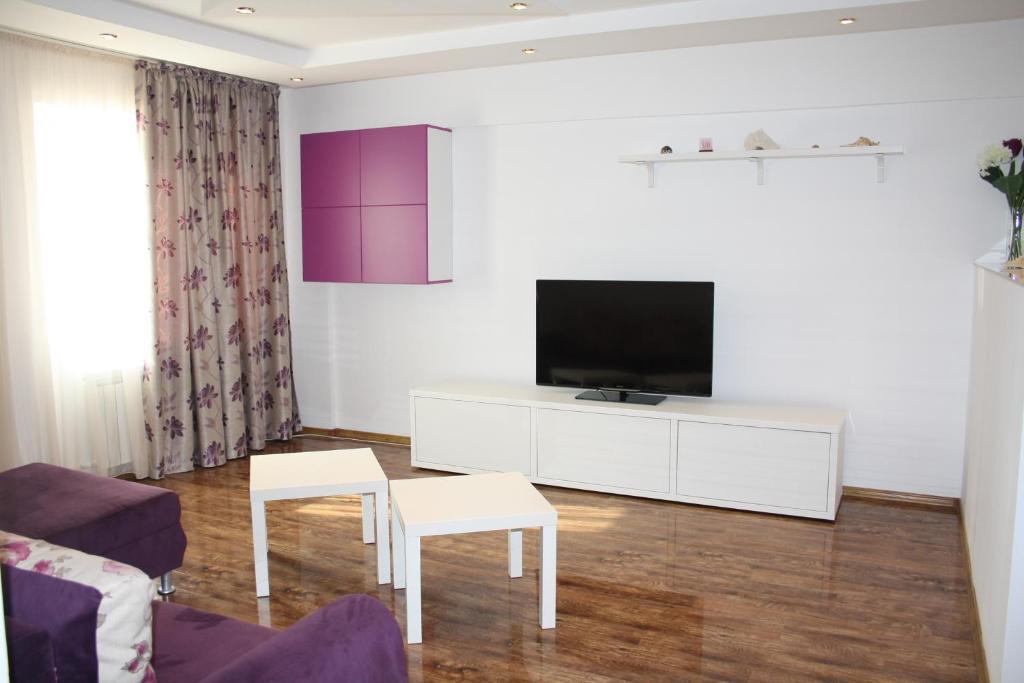 Un televizor și/sau centru de divertisment la Apartament Sea