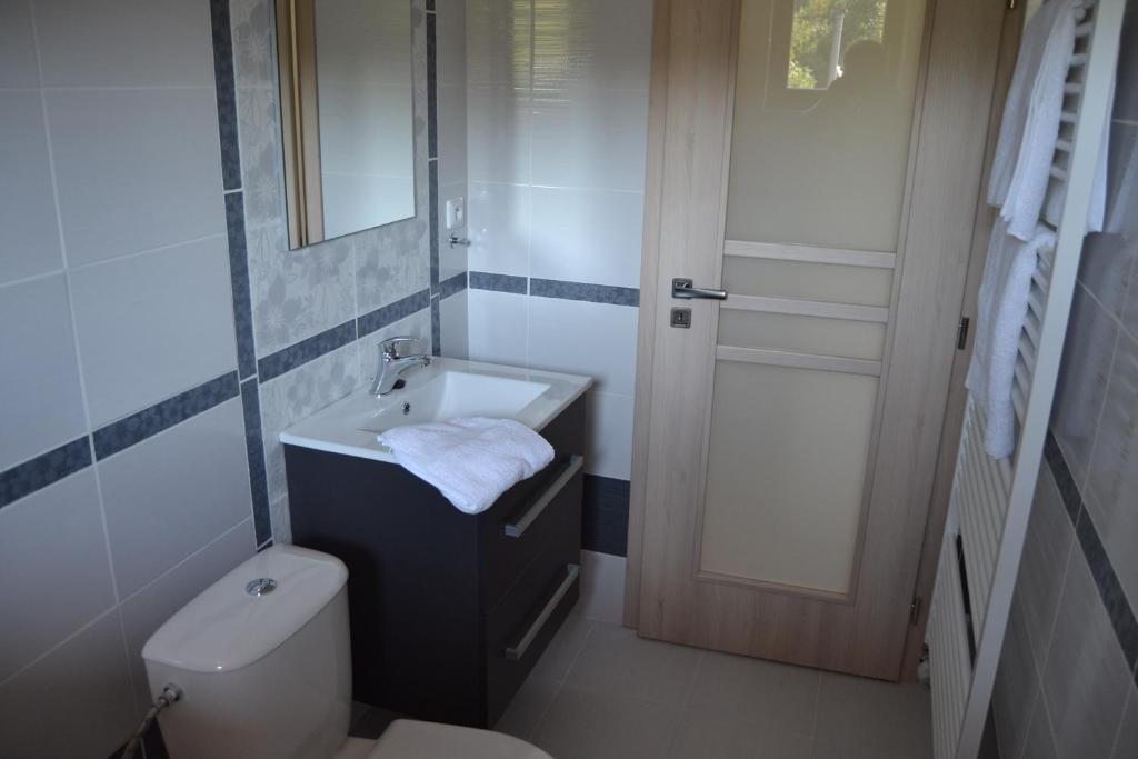 Koupelna v ubytování Penzion Bez Modrého Páva