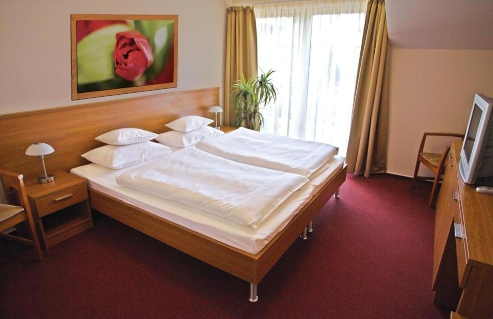 A bed or beds in a room at Promedicum Panzio