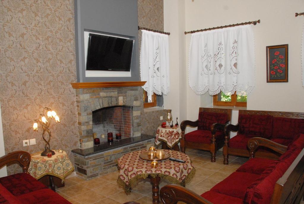 Χώρος καθιστικού στο Ξενοδοχείο Φιλοξένια