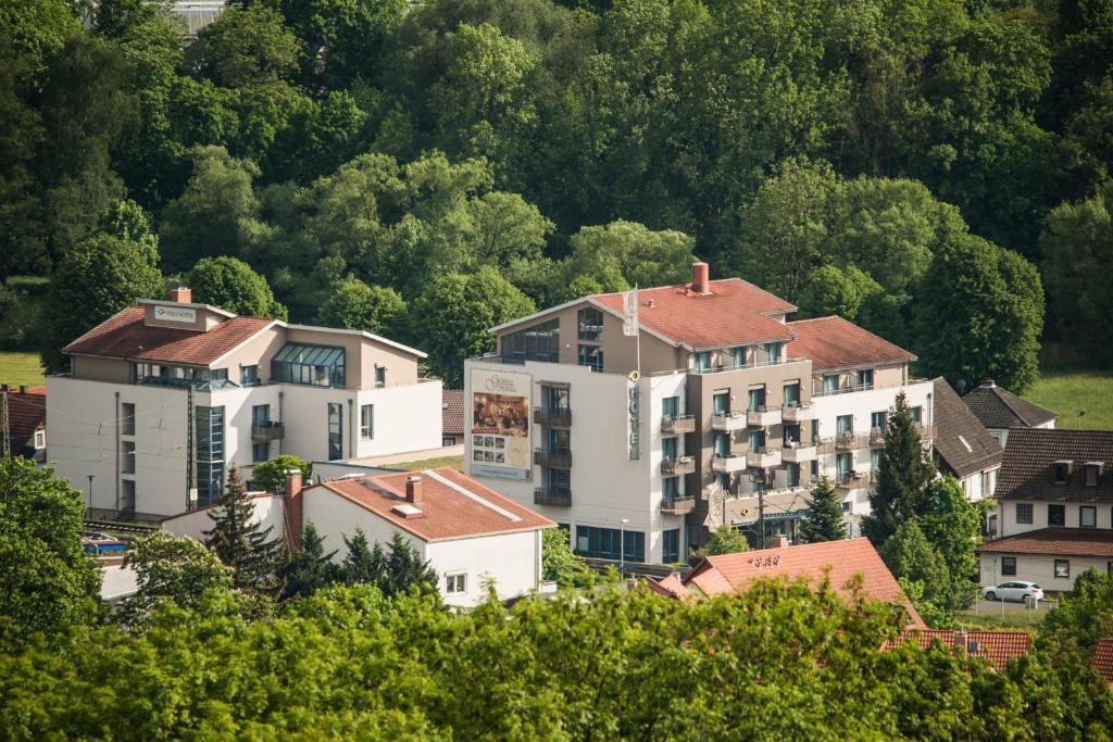 Blick auf Posthotel Rotenburg aus der Vogelperspektive
