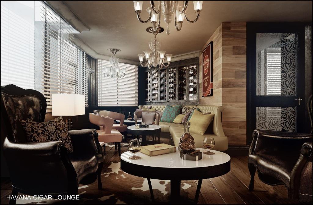 A seating area at Hotel Royal Kinshasa