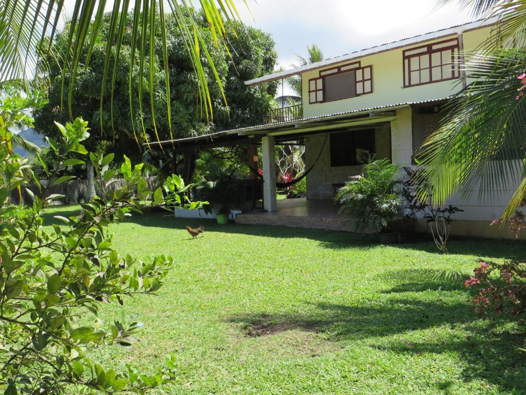 A garden outside Taharuu Surf Lodge