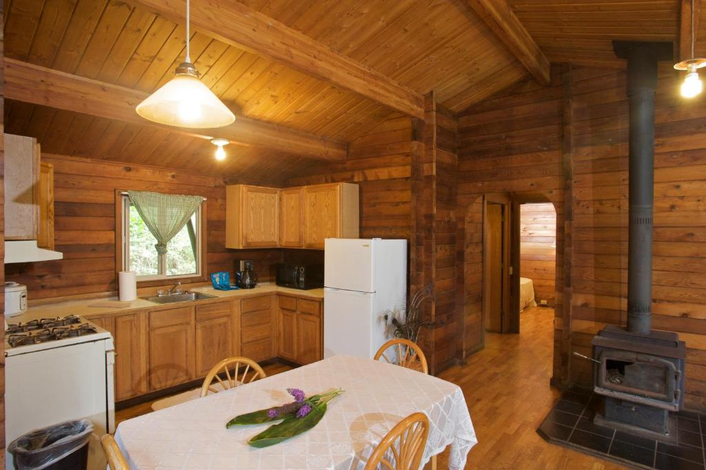 A kitchen or kitchenette at The Cabins at Kokee