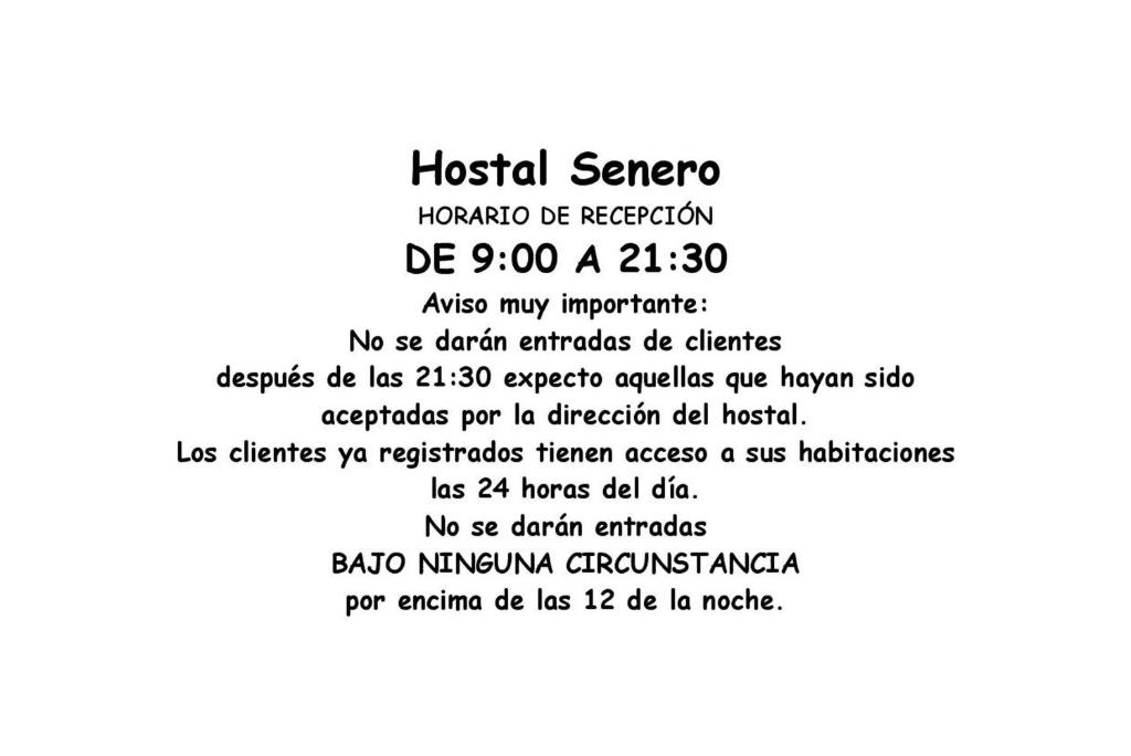 A certificate, award, sign, or other document on display at Hostal Senero