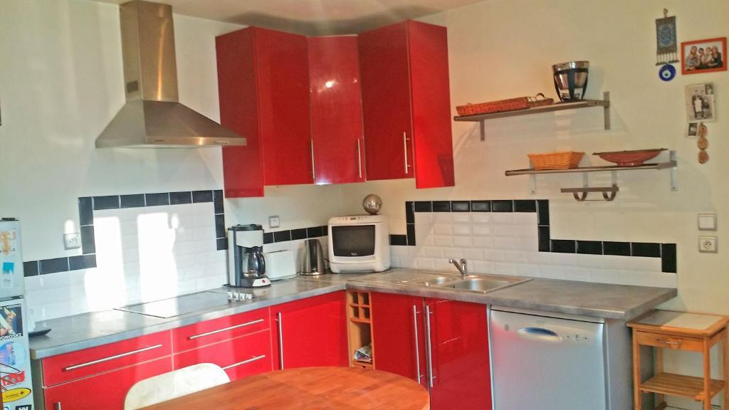 Cuisine ou kitchenette dans l'établissement Studio Crosaz