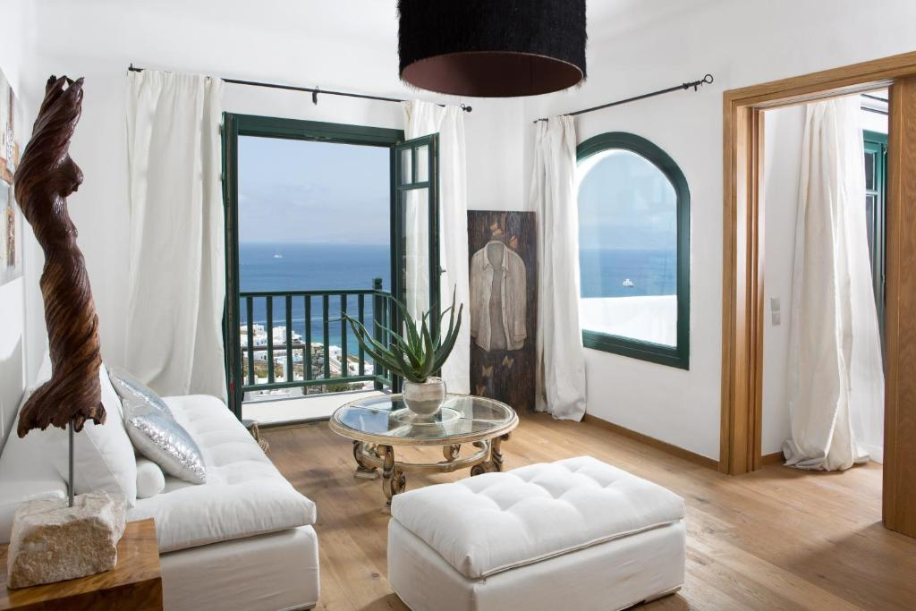 A seating area at Tharroe of Mykonos Boutique Hotel
