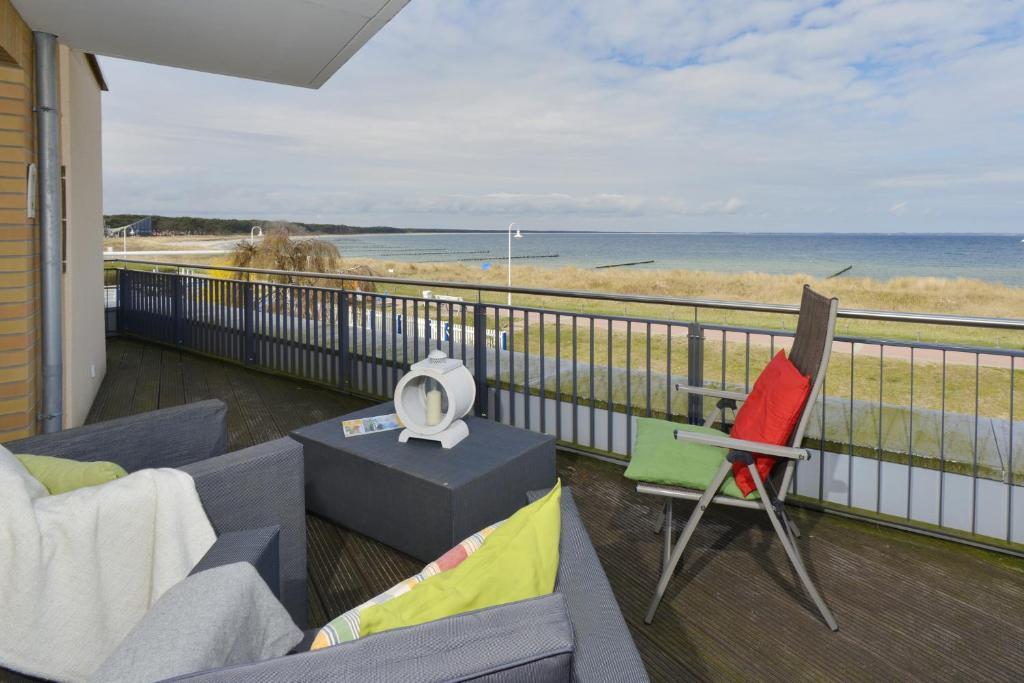 Ein Balkon oder eine Terrasse in der Unterkunft Ferienwohnung Traumstrand