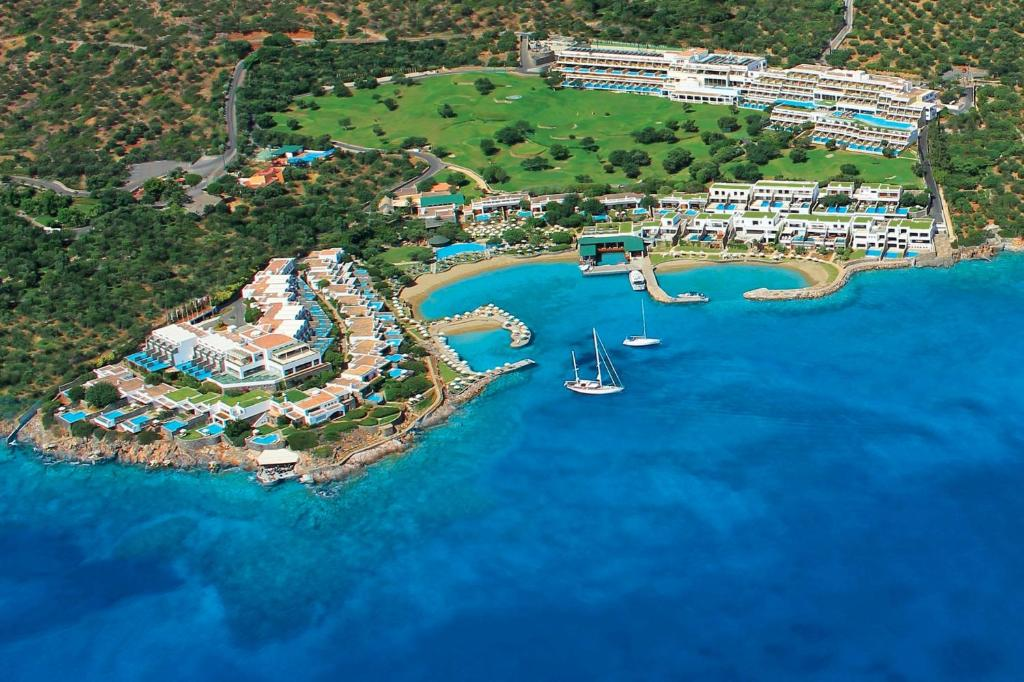 A bird's-eye view of Porto Elounda Golf & Spa Resort, Six Senses Spa