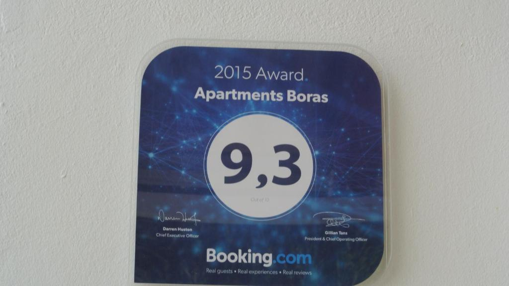A certificate, award, sign, or other document on display at Apartments Boras