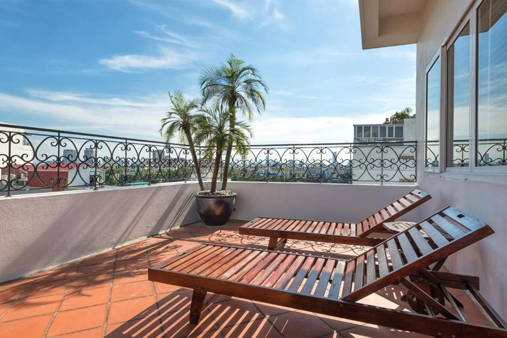 Balcon ou terrasse dans l'établissement Hanoi E Central Hotel