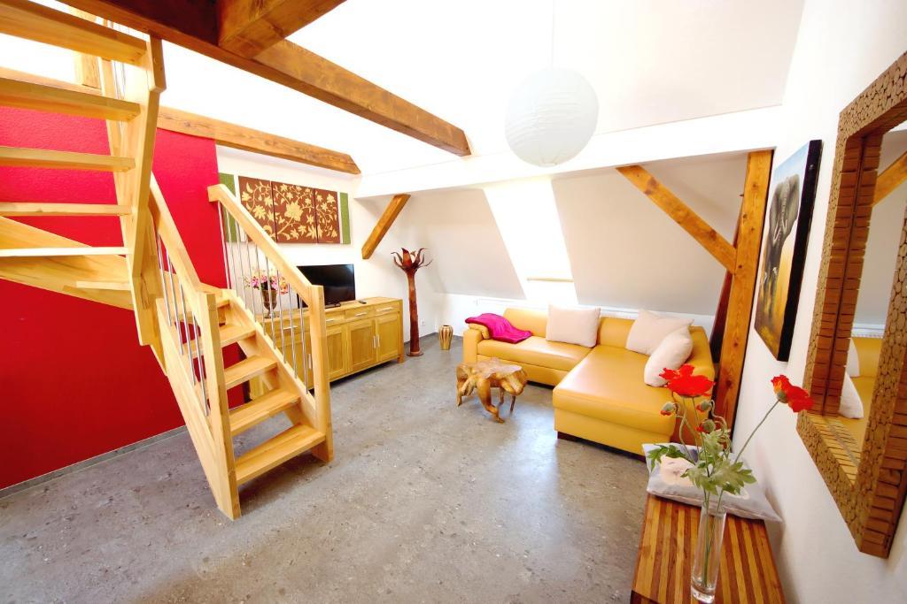 Ein Sitzbereich in der Unterkunft Villa am Schwanenteich
