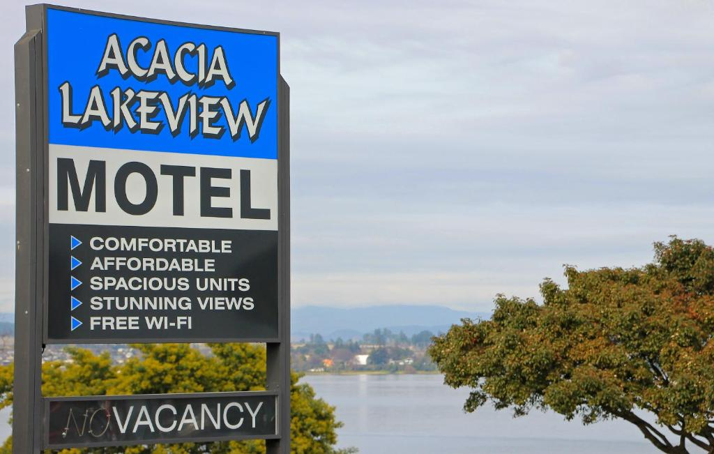 A certificate, award, sign, or other document on display at Acacia Lake View Motel