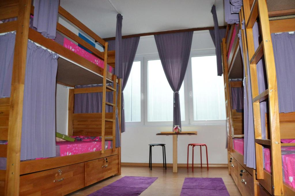 A bunk bed or bunk beds in a room at Skopje Hostel