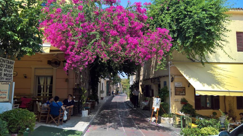 Een patio of ander buitengedeelte van Village under the Acropolis