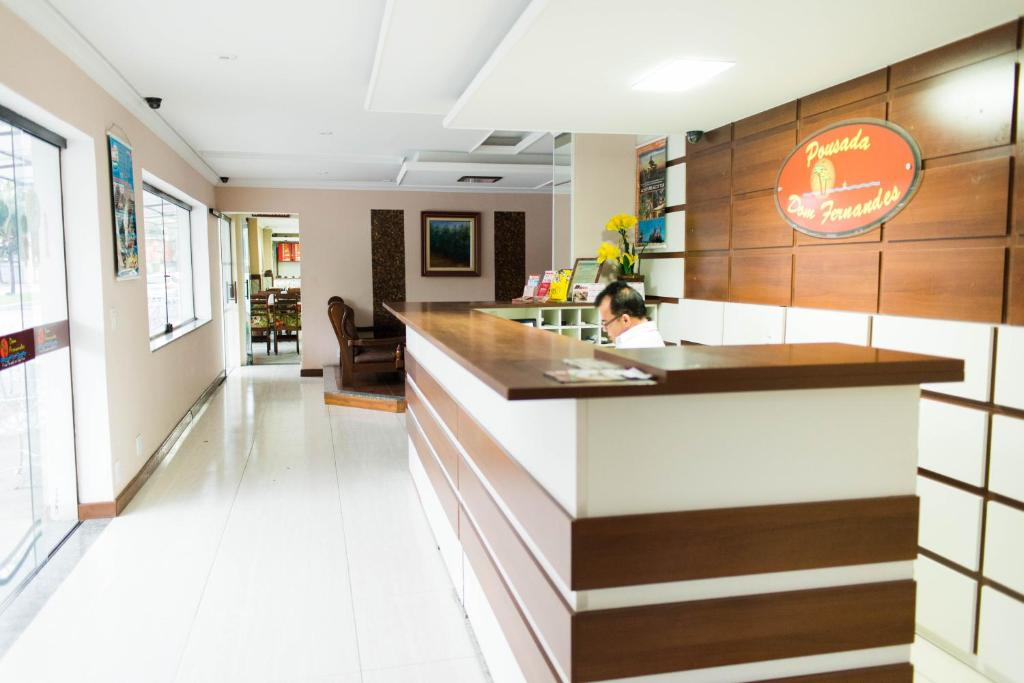 The lobby or reception area at Pousada Dom Fernandes