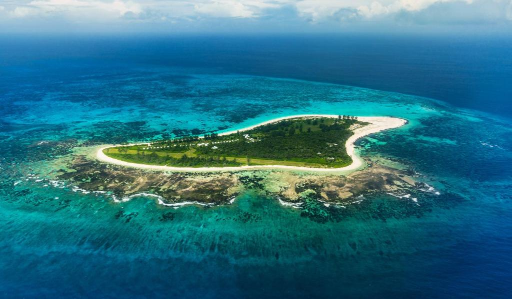 A bird's-eye view of Bird Island Seychelles - Private Island Villas