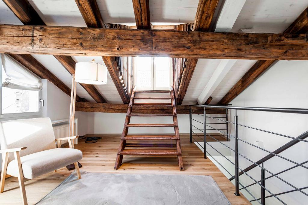 A bunk bed or bunk beds in a room at Laubenhaus