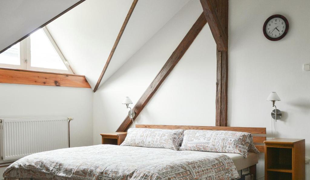 Postel nebo postele na pokoji v ubytování Pension U Milana