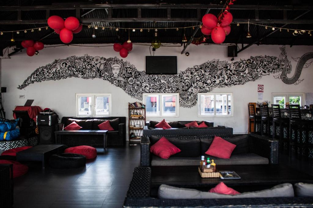 Coin salon dans l'établissement Top Banana Guesthouse & Rooftop Bar