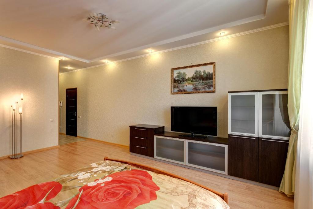 A television and/or entertainment center at Business Apartments on Chistopolskaya