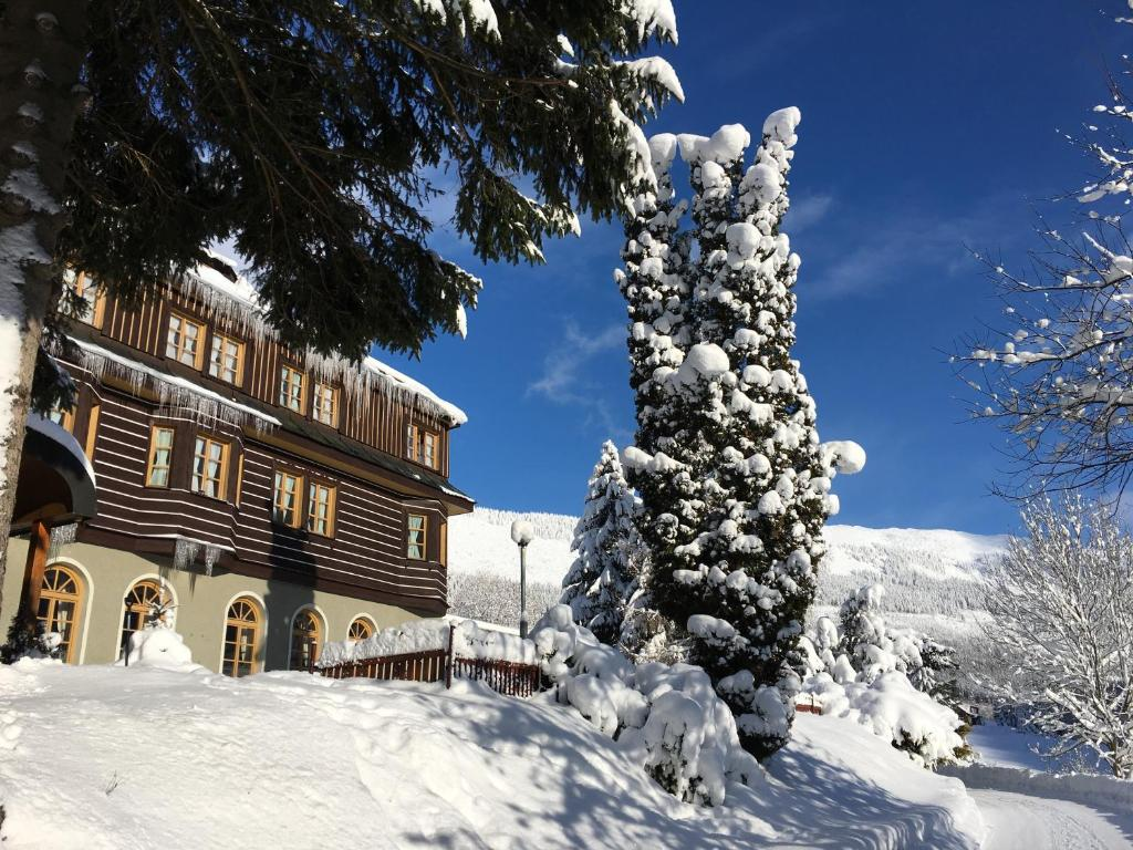 Alpský Hotel im Winter
