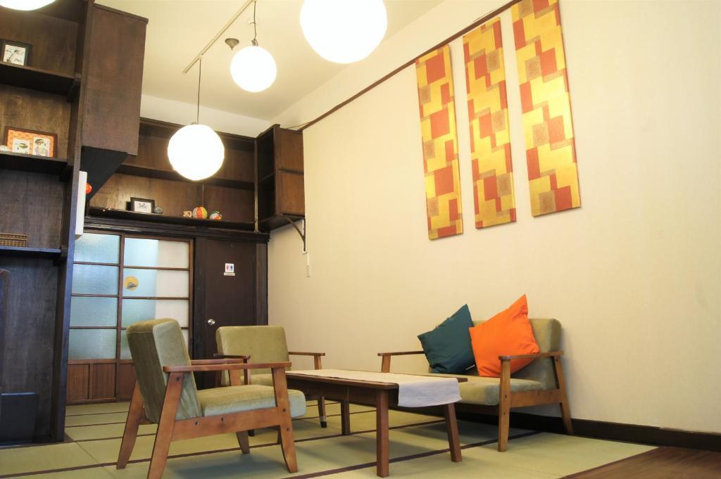A seating area at Asakusa Shinobi House