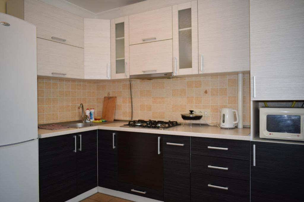 A kitchen or kitchenette at Apartment on Demyanchuka 1A