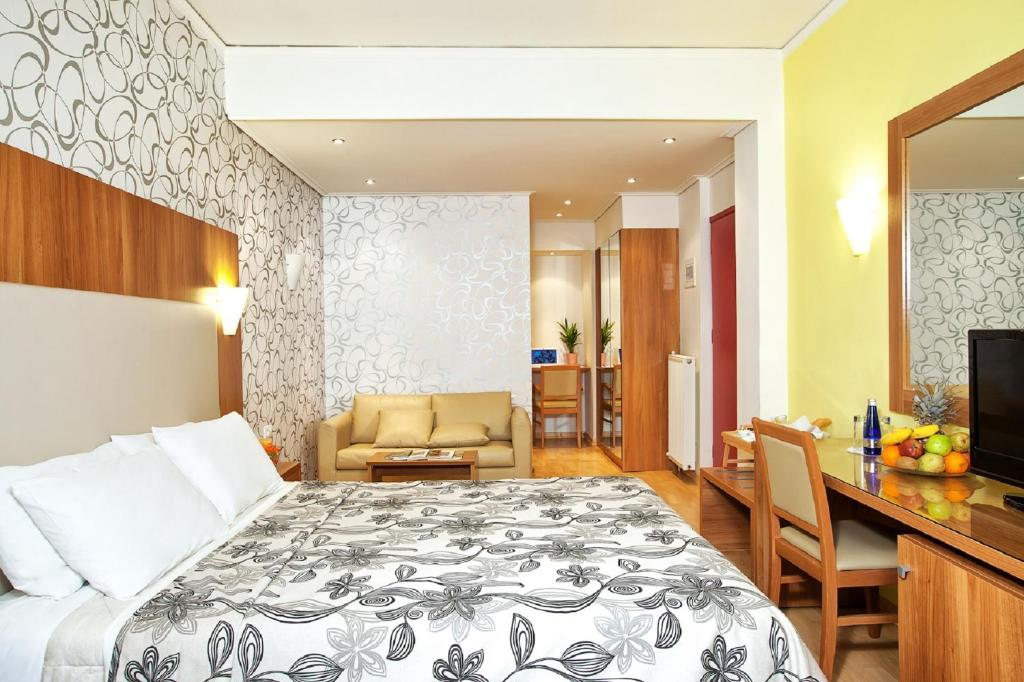 Krevet ili kreveti u jedinici u okviru objekta Leto Boutique Hotel Agrinio