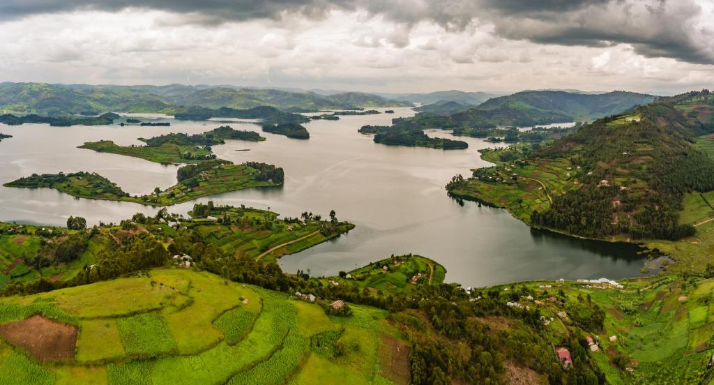 A bird's-eye view of Lake Bunyonyi Rock Resort