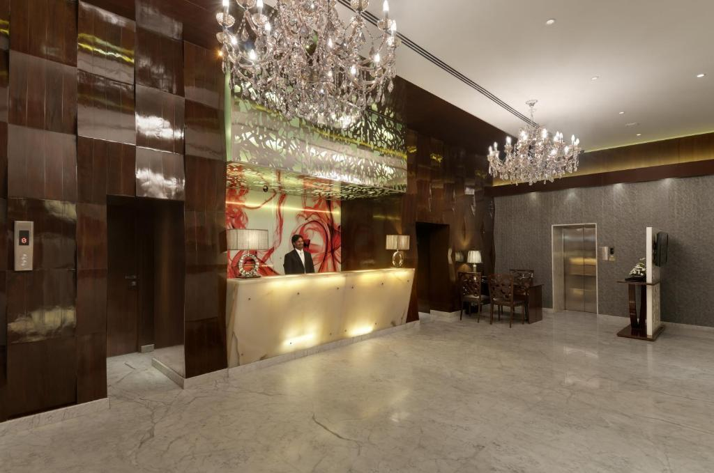 The lobby or reception area at The Elanza Hotel, Bangalore