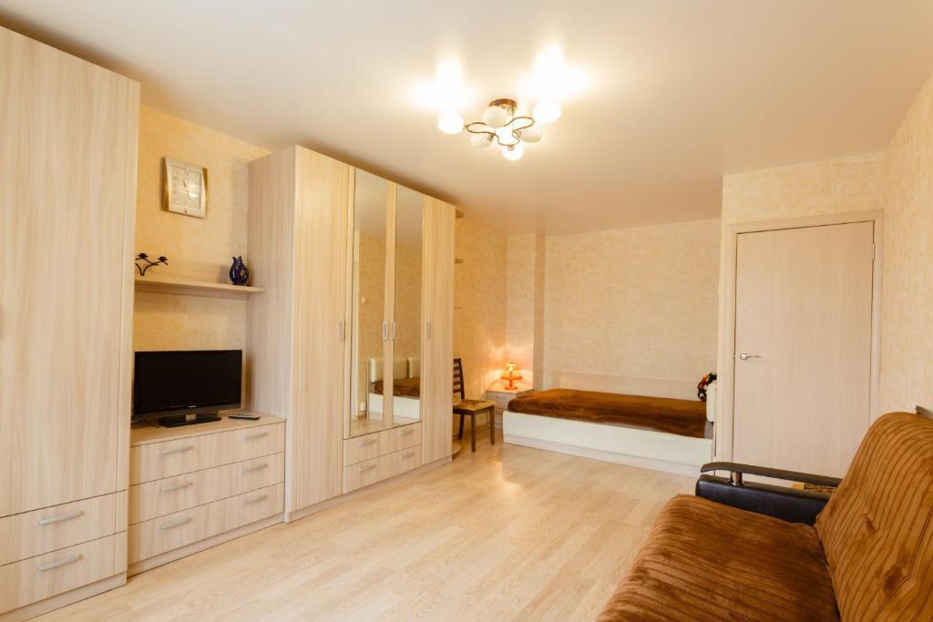 Телевизор и/или развлекательный центр в Busines Brusnika Apartment Vystavochnaya