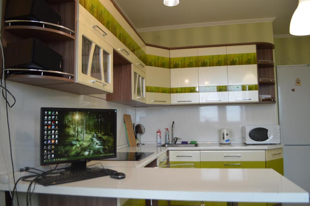 A kitchen or kitchenette at Nice Apartments on Evstafyeva 1