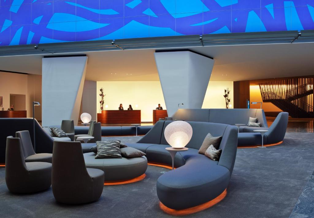 A seating area at Conrad New York Downtown