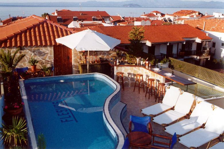 A view of the pool at Hotel Flesvos or nearby